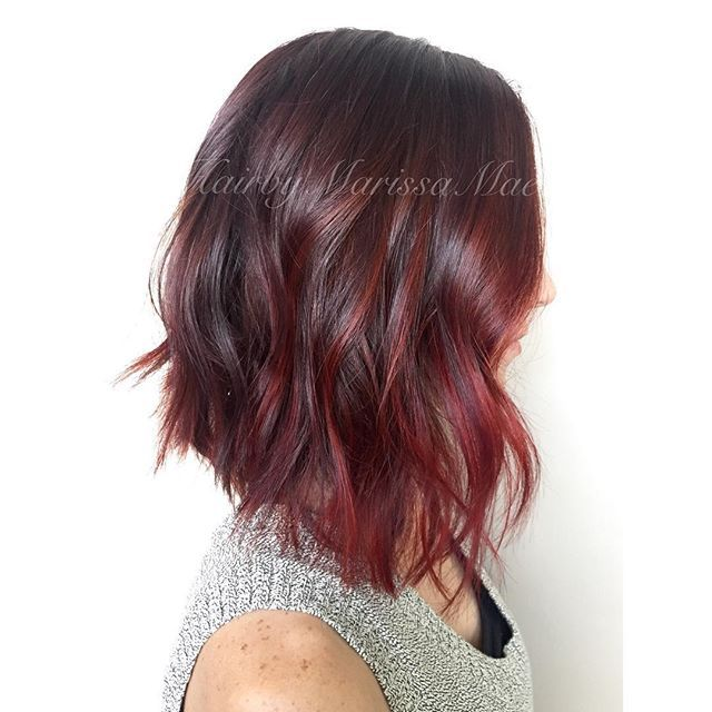 Deep violet-brown melting to a brighter red #hairbymarissamae