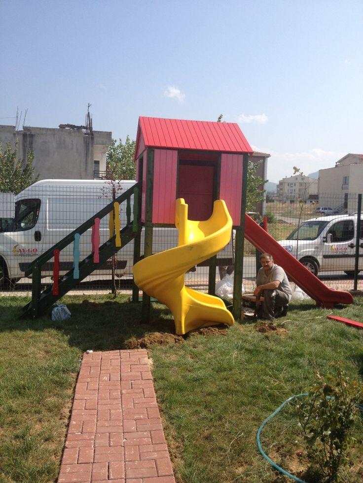 İki Kaydıraklı Küçük Oyun Parkı,Ay-Go, Ahşap Oyun Parkları,Ay Geliştirici Oyuncaklar - Bursa