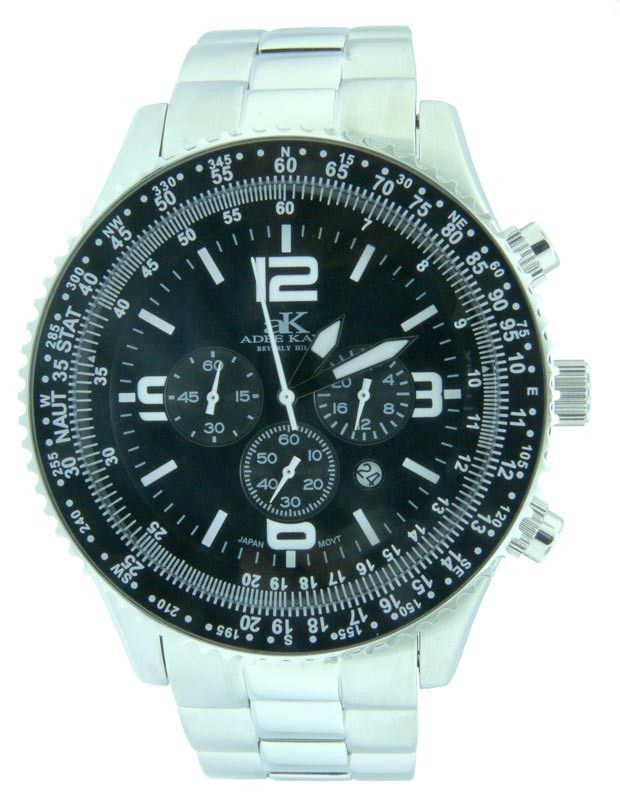 Adee Kaye AK9001-MB Black Men's Chronograph Watch