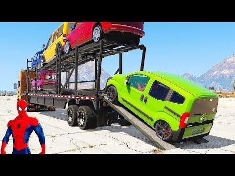 Spiderman Disney Cars Lightning McQueen Transport Minivan Vehicles (Nursery Rhymes Cartoon For Kids) - YouTube