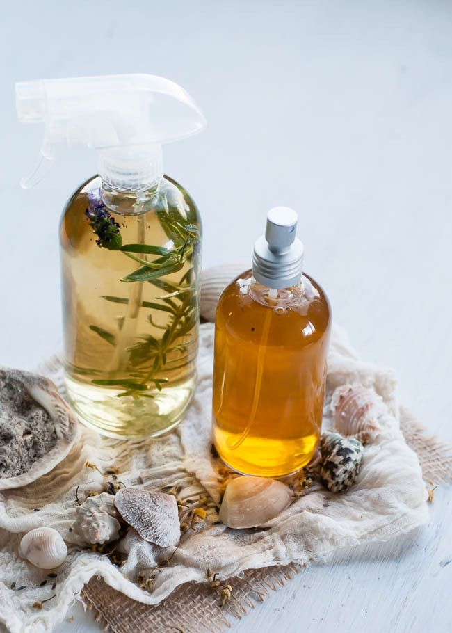 DIY Sea Spray for Hair + Body |    Ingredients:  1 cup of hot chamomile tea (or distilled water if you don't want to refrigerate) 1 tablespoon Epsom salt Pinch of sea salt 1 teaspoon aloe vera gel 1 teaspoon coconut, almond or jojoba oil 4-5 drops of essential oil - like lavender or grapefruit 1 teaspoon lemon juice