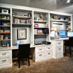 magnificent-white-built-in-desk-plans-for-traditional-family-room-also-turquoise-wall-color-also-cool-book-and-ornament-racks-also-elegant-office-chair-design-also-brown-wall-to-wall-carpeting-design