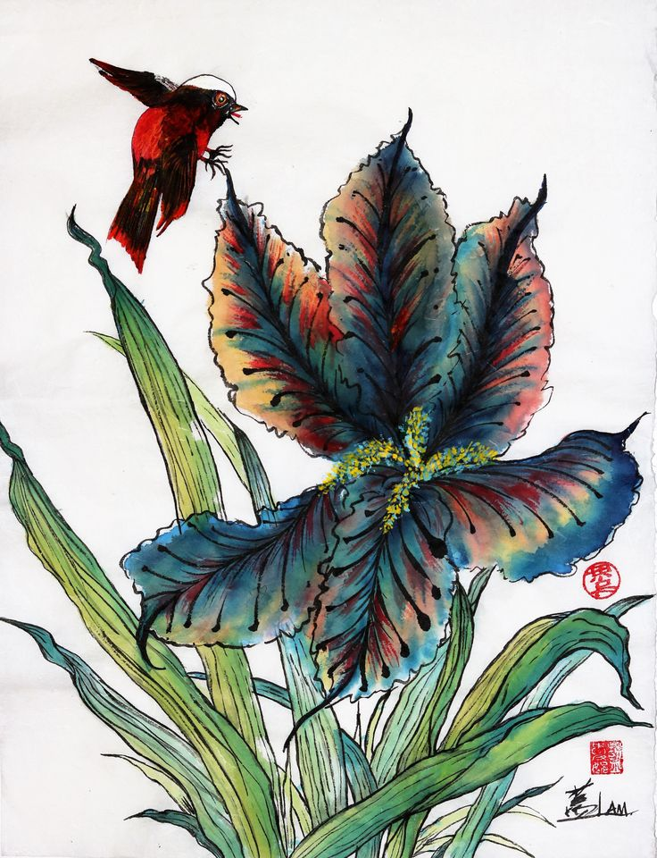 """""""Blue Iris and The Bird"""" by Connie Lam. I didn't think I would enjoy painting the iris but I enjoyed it."""