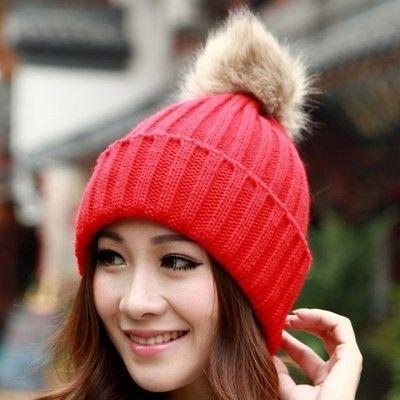Winter Beanie Classic Tight Knitted Fur Pom Poms Hat Women Cap Winter Beanie Headgear Headdress Head Warmer Top Quality Alternative Measures