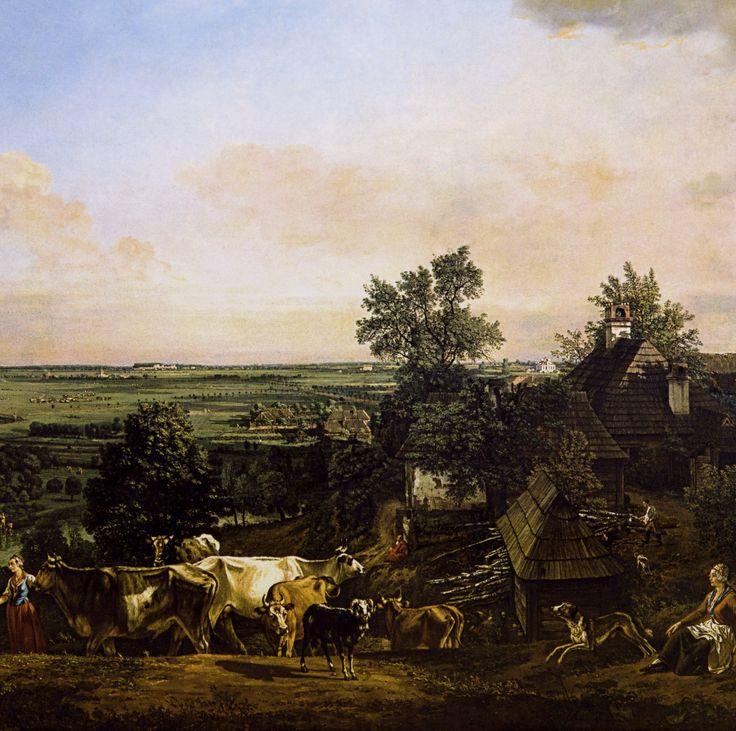 Detail of View of Wilanów meadows by Bernardo Bellotto, 1775 (PD-art/old), Zamek Królewski w Warszawie (ZKW), with Villa of Princess Izabela Lubomriska in Mokotów