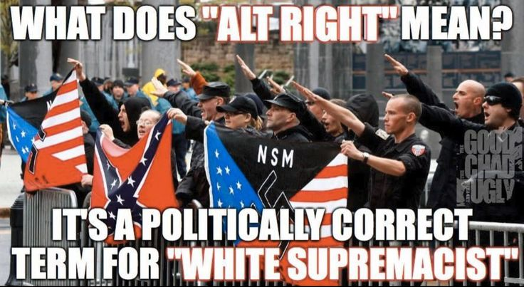 "What does ""Alt Right"" mean? It's a politically correct therm for ""white Supremacist""."