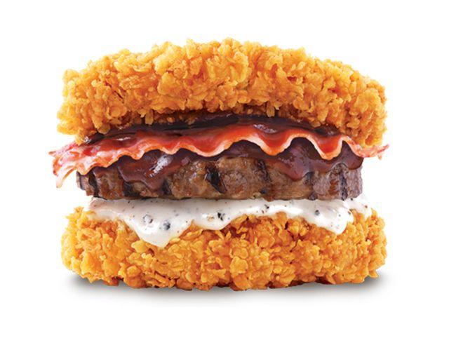 KFC Korea's New Double Down Has Chicken, Beef, and Pork! It's like the turducken of hamburgers.