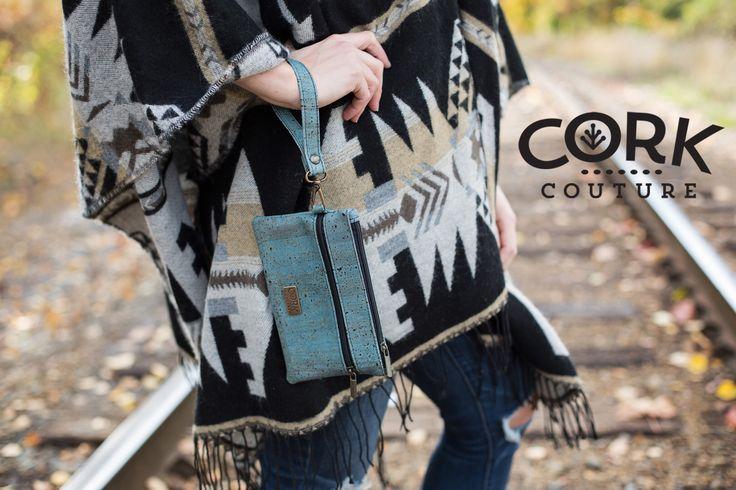 Blue cork wristlets  Shop now for cork handbags www.corkcouture.ca