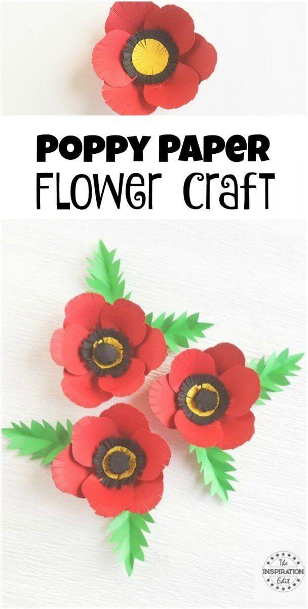 Poppy Flower With Craft Template The Inspiration Edit Papercrafts Flowercrafts Flowers Rememberancesunday Poppyclips Kidscraft