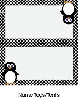 Free! Penguin and Polka Dots Name and Cubby Tags