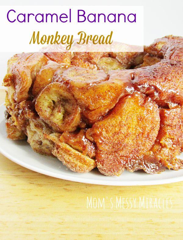 Curious George + Caramel Banana Monkey Bread - Mom's Messy Miracles