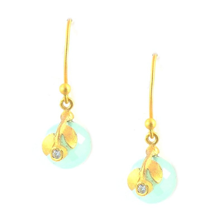 Pomegranate Chalcedony Flower Earrings at aquaruby.com