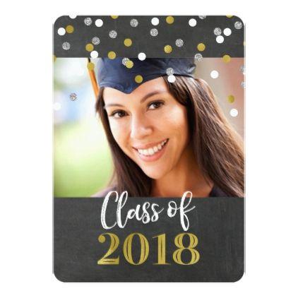 Chalkboard Gold Confetti Photo Graduation Party Card - graduation party invitations card cards cyo grad celebration