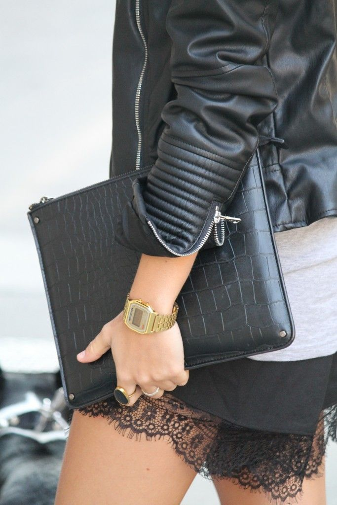 black leather jacket with lace shorts from Sheinside and a gold Casio watch