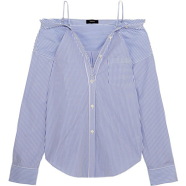Theory Tamalee off-the-shoulder striped cotton-poplin shirt ($270) ❤ liked on Polyvore featuring tops, blouses, shirts, blue, off the shoulder tops, striped shirt, off shoulder blouse, strapless shirts and slim fit button down shirts