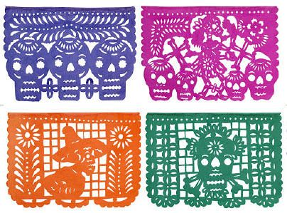 Mexican Papel Picado    (Hand cut out paper banners)