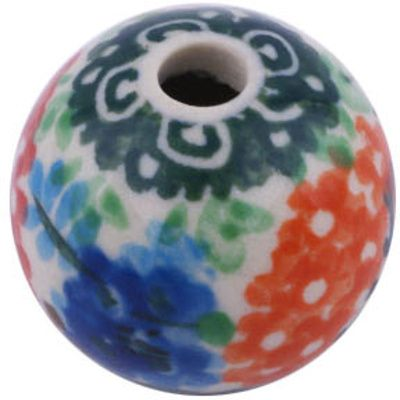 Polish Pottery 1-inch Bead | Boleslawiec Stoneware | Polmedia H6310G | Polmedia