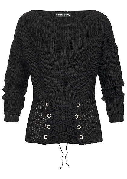 29371f8c01cac6 Styleboom Fashion Damen Strickpullover Schnürdetail schwarz ...