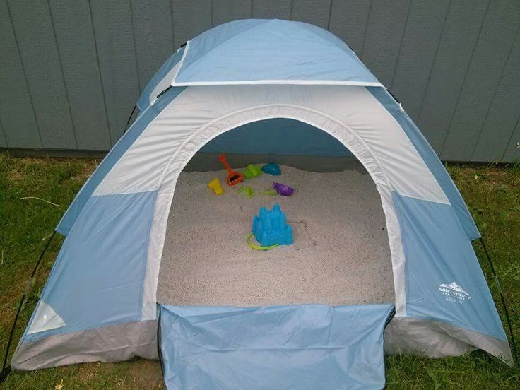 Buy a kids' tent, fill it with play sand. They can stay our of the hot sun, zip it up to keep cats from pooping in it & iy keeps the rain out. #WinWin