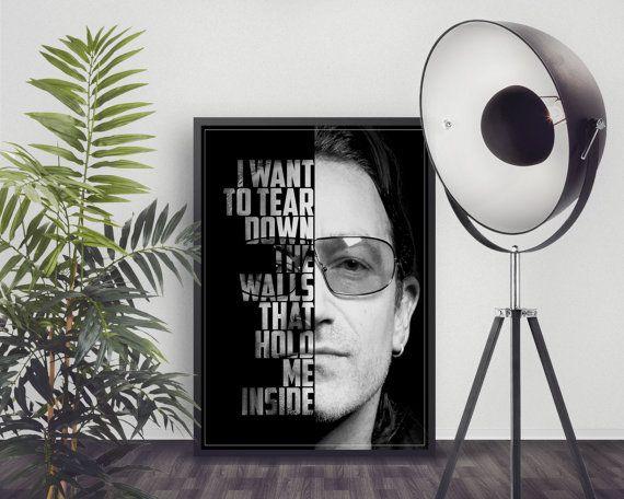 Bono-Poster - U2 Lyrics - U2-Kunstdruck - U2 Musik Poster - benutzerdefinierte lyrische Kunst - Wall Art - Song Lyrics Poster - Raum Dekor