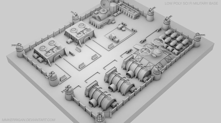 Low Poly / Sci fi Military Base / 01 by MMKerrigan on DeviantArt