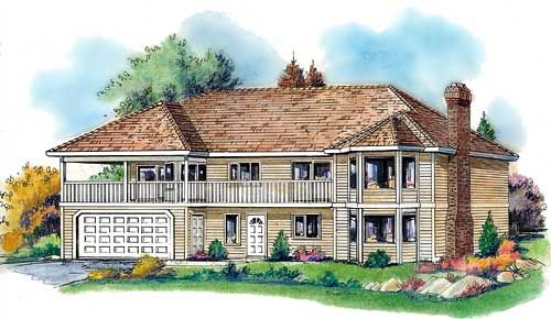 Plan No. 138598 - This expansive design has the potential of 2730 sq. ft. if both levels are finished, that will yield five bedrooms and three baths. Designed to take full advantage of a view to the front, the living on the main floor helps to overcome any obstacle in the way and the covered deck gives lots of possibilities for outdoor living.