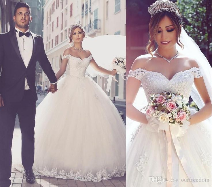 2016 Saudi Arabic Off The Shoulder Wedding Dresses Lace Appliques Ball Gown Puffy Tulle Castle Bridal Gown Said Mhamade New Design Dresses Drop Waist Ball Gown Wedding Dress Princess Gown Wedding Dresses From Ourfreedom, $127.6| Dhgate.Com