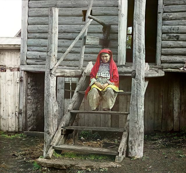 Bashkir woman in a folk costume (in the village of Yakhia). Russia, Ufa Province, Ufa uyezd (district), Yakhino village, 1910.