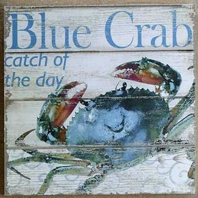 Blue Crab Catch Of The Day Wall Plaque Larger Square