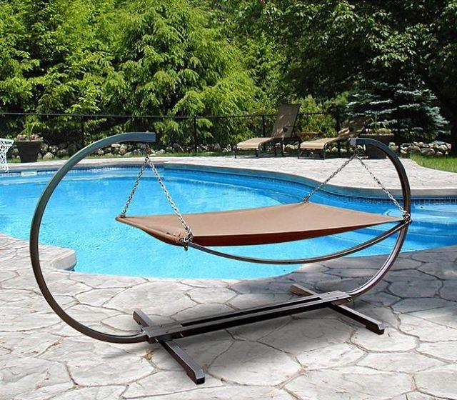 Outdoor Relaxmöbel Hängematte Mit Gestell Stahl Polyester Sitzfläche