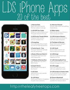 20 of the best LDS iPhone Apps including: MormonTube Family Search Mormon Channel LDS Youth LDS Laughs Scripture Citation Index LDS Tools Bible Videos