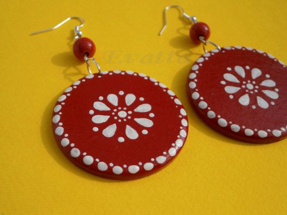 Red folk earring by EviJewelry on Etsy, $15.90