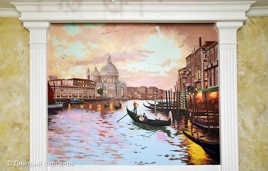 Авторская роспись стен с видом Венеции выполнена в пастельных тонах. Художественная роспись находится над спинкой дивана, напротив телевизора. Владельцы квартиры хотели увидеть у себя полюбившуюся им Венецию и обратились в нашу студию, а мы им помогли воплотить желание в реальность. По просьбе заказчика, мы сделали несколько эскизных предложений которые отражали основную тематику роспи…