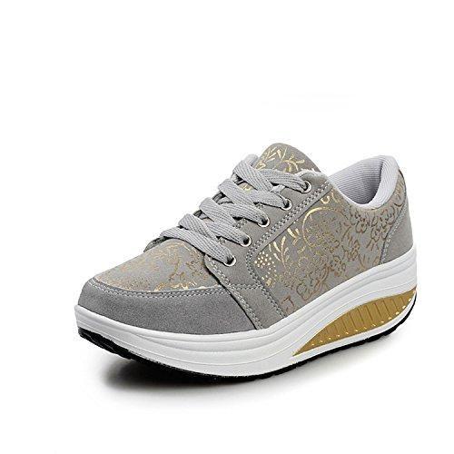 Oferta: 39.99€ Dto: -45%. Comprar Ofertas de QZBAOSHU Moda Zapatillas para Mujer Niñas Fitness Running Zapatos Deportivos Cuñas (38 (adecuado para la UE37), Gris) barato. ¡Mira las ofertas!