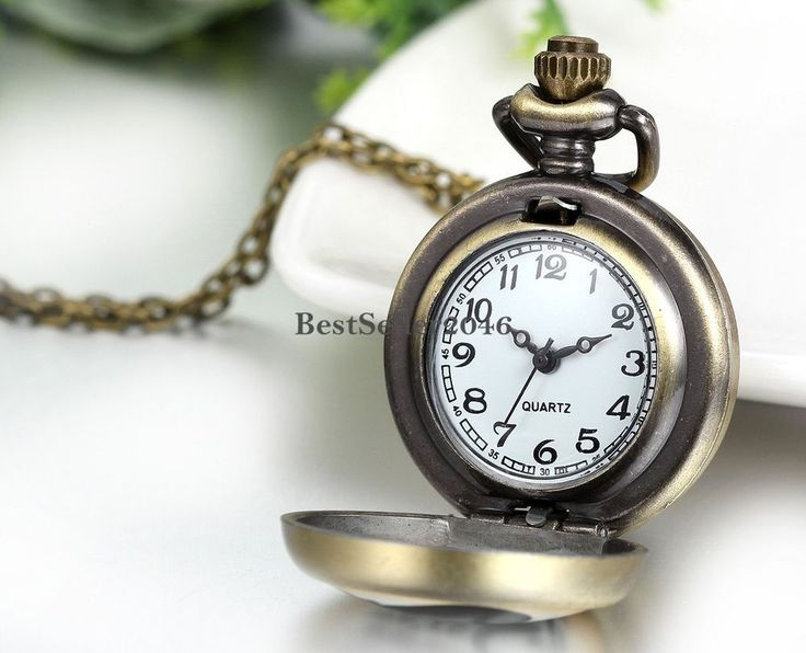 Retro Locket Night Owl Pattern Arabic Numerals Dial Quartz Pocket Watch Necklace #UnbrandedGeneric