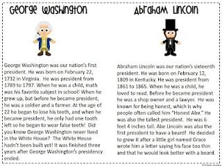George Washington & Abraham Lincoln Reader & Sorting Sheets