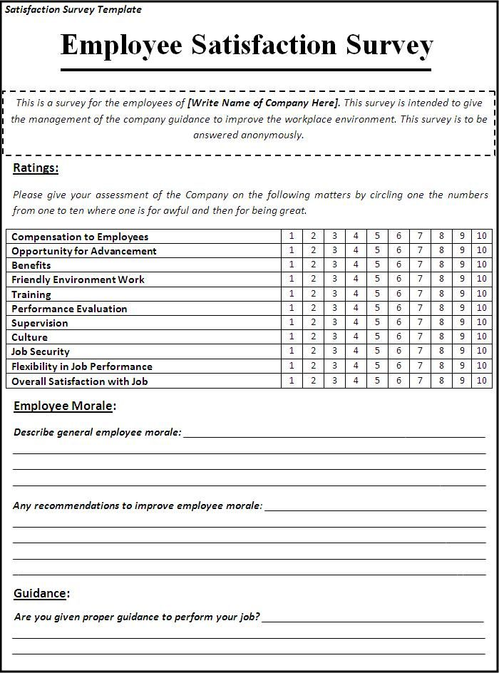 Satisfaction Survey Template Survey Template Employee Satisfaction