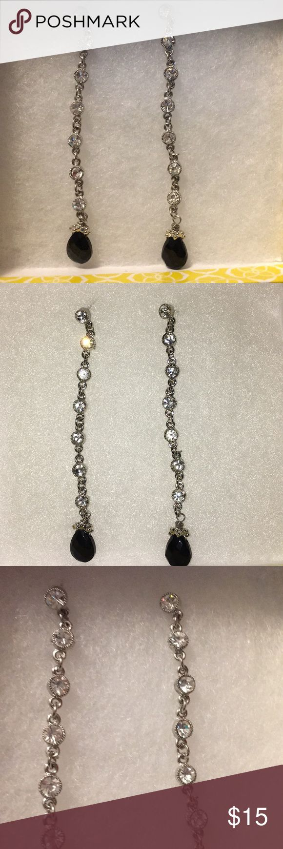 "Special occasion dangly earrings New without tags dangly fashion earrings with rhinestones and Black Stone. These are beautiful and great for evening wear or just to make your outfit more elegant. They were a gift many years ago and just never worn. They measure about 3.5""' long Jewelry Earrings"