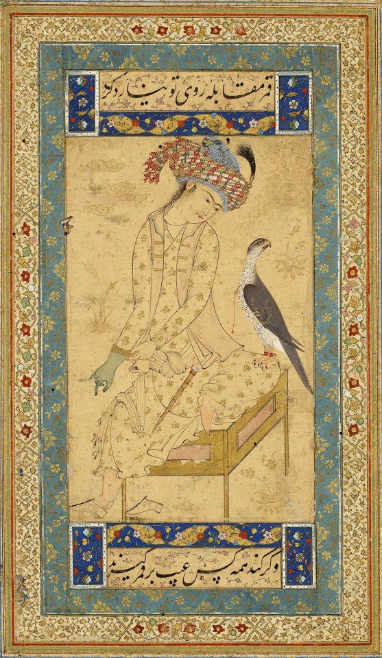 Youth Pulling on a Falconer's Glove  Leaf from the Read Persian Album. Herat (Afghanistan), ca. 1600