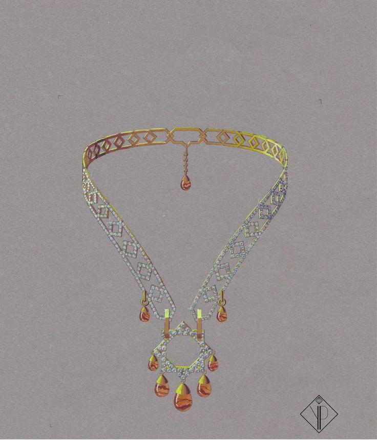 Collier Liens Yéménites, Collection Tour du monde, Or jaune, Cornaline, Diamants. Février 2014.