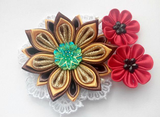 Kanzashi Haarclip / Kanzashi Blume / Haarclip für Mädchen / Kopf Zubehör Ungefähr 3,54 Zoll Länge der gesamten Blumenarrangements große Blume - 2,36 Zoll D kleine Blumen - 1,18 Zoll Versandfertig!
