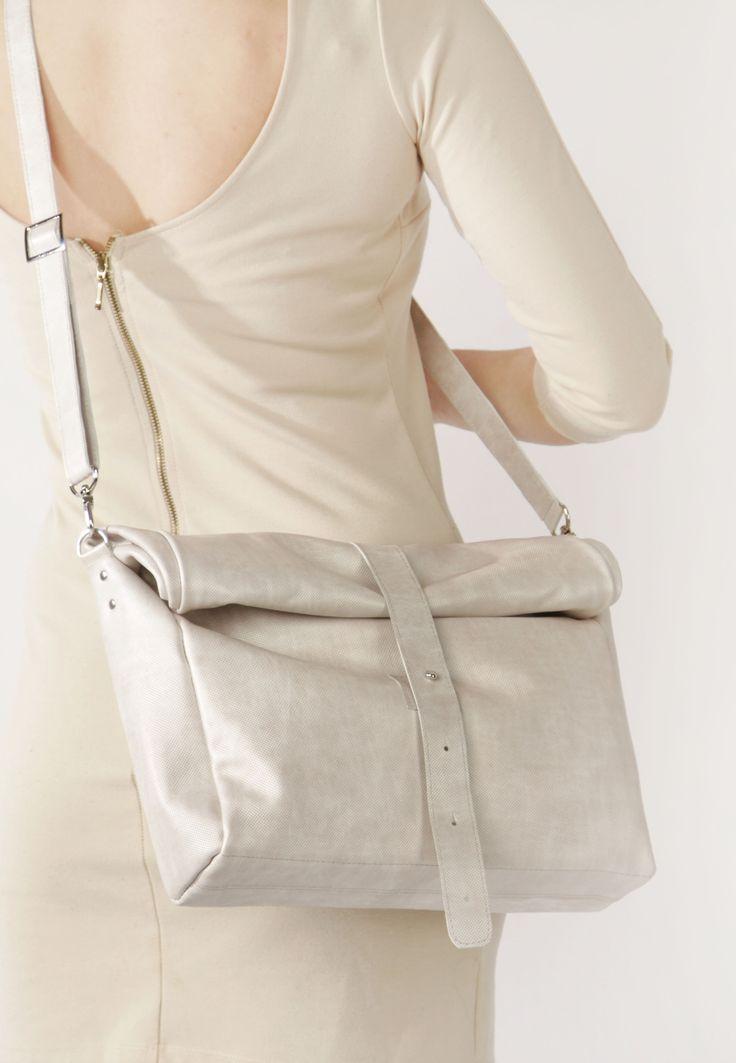 Beige Leather Bag by A-Rada / Leather Crossbody Handbag / Leather Cross Body Bag / Кожаная сумка через плечо среднего размера