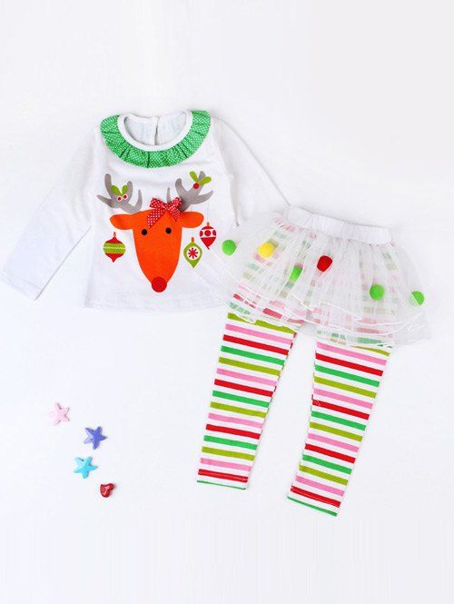 Elk Print Striped Kids Christmas Outfits #jewelry, #women, #men, #hats, #watches, #belts, #fashion