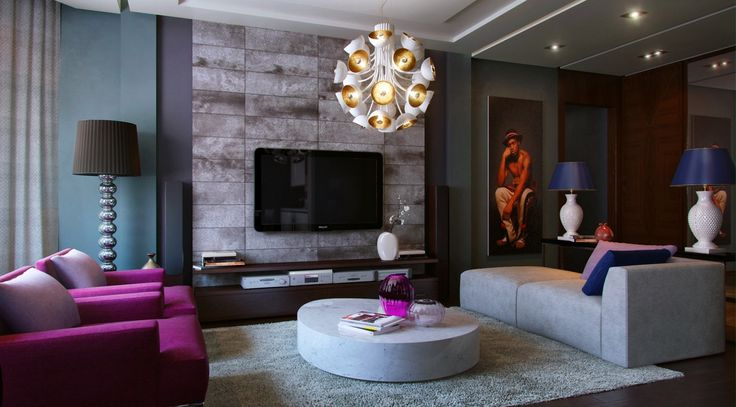 Living room purple teal slate sofa modern floor lamp wall tv entertainment console grey rug - Purple and tan living room ...