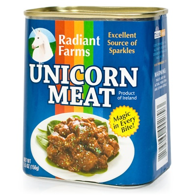 Amaze friends and shock cupboard snoopers with this highly realistic can of unicorn meat that pops open to reveal a cute little plush unicorn, chopped up into prime cuts for your twisted amusement. There's magic in every bite!