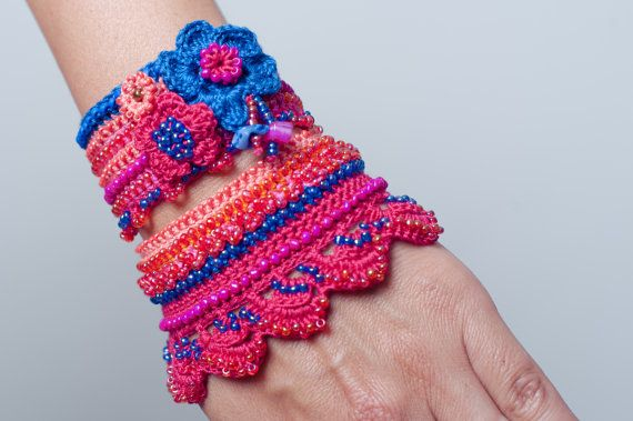 Pink Blue Coral Crochet Bracelet Cuff by SvetlanaCrochet on Etsy