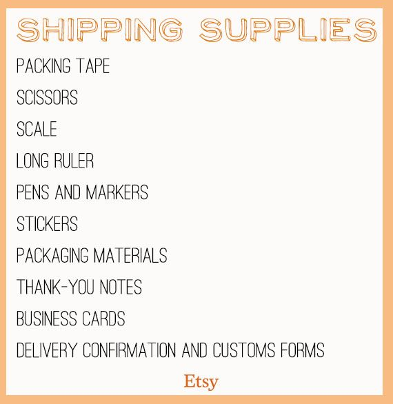 Shipping Supply Checklist , Etsy Shipping Supplies, branded packaging basics, packaging station