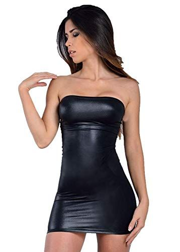 MPitude Women s Clubwear Faux Leather Look Liquid Black Strapless Mini Tube Dress  Fitted Spandex Lycra Bodycon Faux Leather Nightclub Dress 9eafb20502f2
