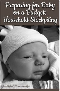 Preparing for baby by stockpiling household goods like toilet paper and basically everything you'll need for after baby comes. Awesome list!