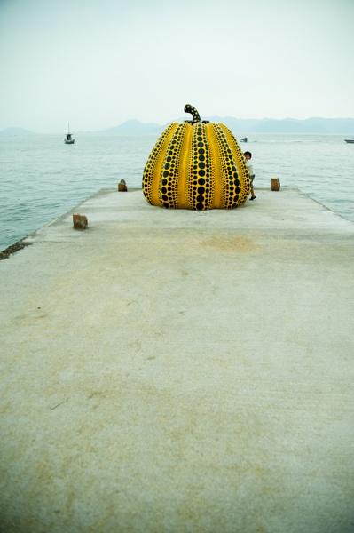 """Yayoi Kusama""""Nankin(Pumpkin)"""" in Naoshima,Seto Inland Sea"""